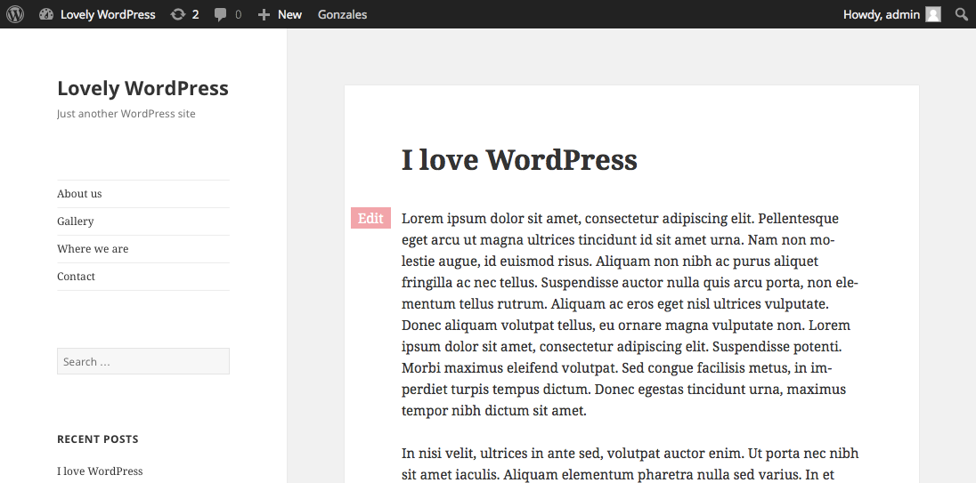 Fast Edit Button plugin in WordPress in twenty fifteen theme