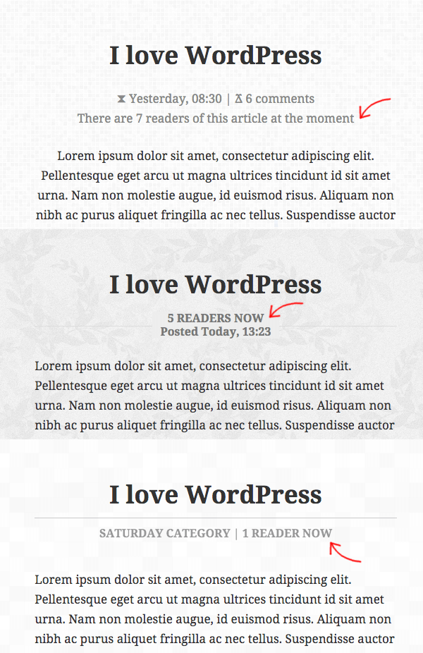 Online Readers WordPress plugin in action - it can adapt to any WordPress theme.